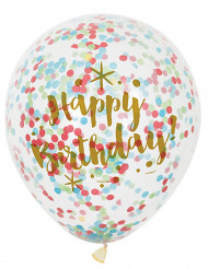 6 Ballons en latex Happy Birthday confettis multicolores 30 cm