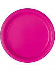 16 Assiettes en carton rose fuschia 23 cm