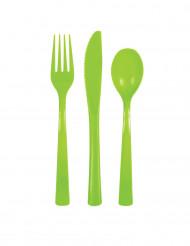 18 Couverts en plastique vert pomme