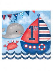 16 Serviettes en papier 1er anniversaire Petit Marin 33 x 33 cm