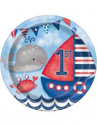 8 Assiettes en carton 1er anniversaire Petit Marin 23 cm