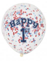 6 Ballons en latex avec confettis 1er anniversaire Petit Marin 30 cm