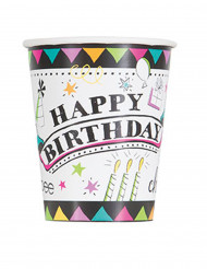 8 Gobelets en carton Doodle Happy Birthday 270 ml