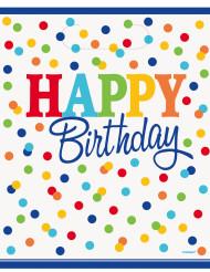 8 Sacs cadeaux Happy birthday pois colorés