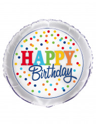 Ballon aluminium Happy birthday pois colorés 45 cm