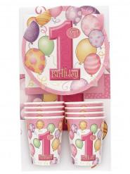 Kit de vaisselle 1er anniversaire rose