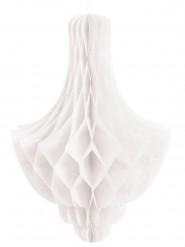 Décoration alvéolée à suspendre chandelier blanc 35 cm