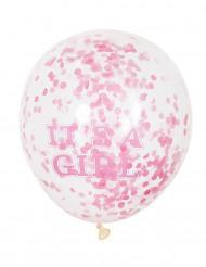Ballon latex it's a girl confettis roses