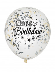6 Ballons en latex confettis Happy Birthday argent et or 30 cm