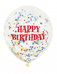 6 Ballons en latex transparent Happy Birthday avec confettis 30 cm