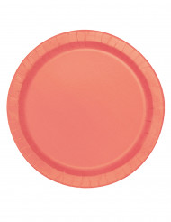 20 Petites assiettes en carton corail 18 cm