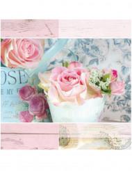 20 Serviettes en papier fleurs pastel 33 x 33  cm