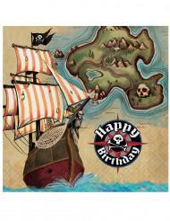 16 Serviettes en papier Ile aux pirates 33 x 33 cm