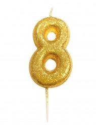Bougie chiffre 8 doré à paillettes
