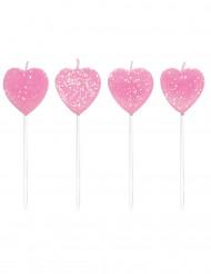 10 Bougies coeurs roses