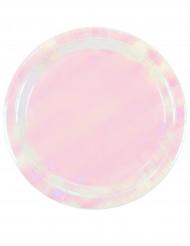 12 Assiettes en carton rose iridescentes 23 cm