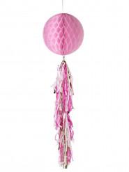 Boule en papier alvéolé rose 30 cm avec tassels