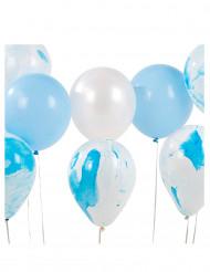 12 Ballons assortis marbrés bleu et blanc