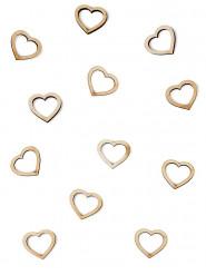 Confettis de table bois coeurs