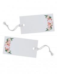 10 Etiquettes blanches fleurs avec ficelles