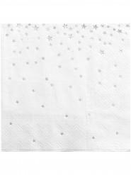 20 Petites serviettes en papier blanches avec étoiles argentées 25 x 25 cm