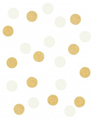 Confettis ronds blancs et or 14g
