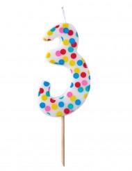 Bougie d'anniversaire chiffre 3 pois colorés