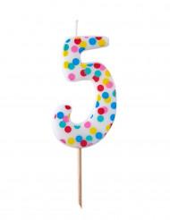 Bougie d'anniversaire chiffre 5 pois colorés