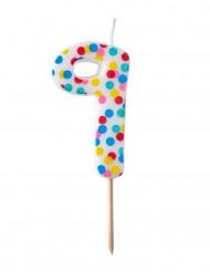 Bougie d'anniversaire chiffre 9 pois colorés