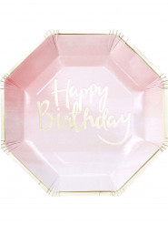 8 Assiettes en carton rose et or Happy Birthday 25 cm