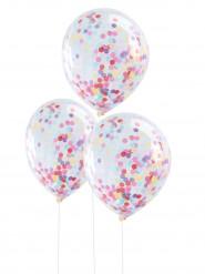 5 Ballons transparents confettis multicolores 30 cm