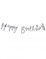 Guirlande Happy Birthday argenté 1,5 mètres
