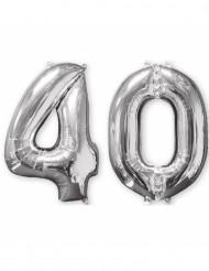 2 Ballons aluminium argent 40 ans 66 cm