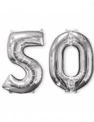 Ballons aluminium argent chiffre 50 66 cm