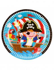 8 Assiettes en carton Pirate petit moussaillon 23 cm