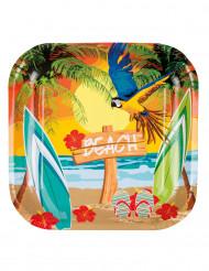 6 Assiettes en carton Beach party 23 cm