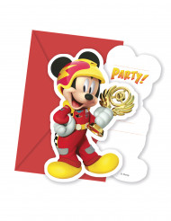 6 Cartes d'invitation avec enveloppes Mickey Racing™