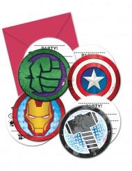 6 Cartes d'invitation avec enveloppes Avengers Mighty™
