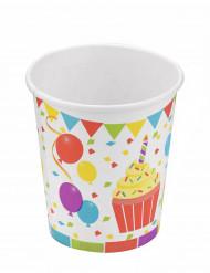 6 Gobelets en carton 25cl ballons d'anniversaire
