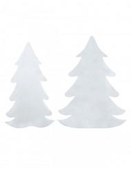 6 Sapins en feutrine blanche Noël