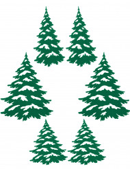 6 Sapins adhésifs verts Noël