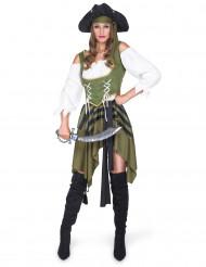 Déguisement Pirate flibustière vert femme