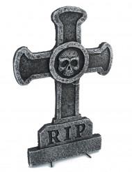 Décoration pierre tombale croix avec tête de mort 39 x 58 cm