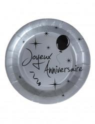 10 Assiettes en carton anniversaire argentées 22,5 cm