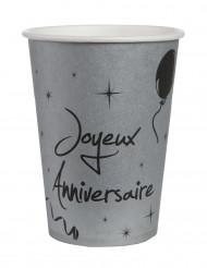 10 Gobelets en carton argentés anniversaire