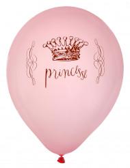8 Ballons en latex princesse roses 23 cm