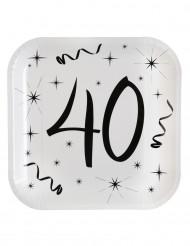 10 Assiettes en carton âge 40 ans 23 cm