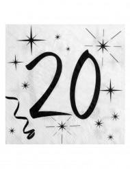 20 Serviettes en papier âge 20 ans 33 x 33 cm