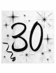 20 Serviettes en papier âge 30 ans 33 x 33 cm