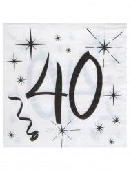 20 Serviettes en papier âge 40 ans 33 x 33 cm